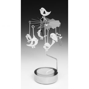 Silver Spinner Tea Light Bird