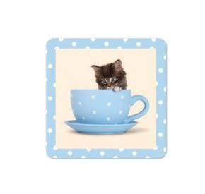 Kitty In A Tea Cup Coaster, (6 Pack)