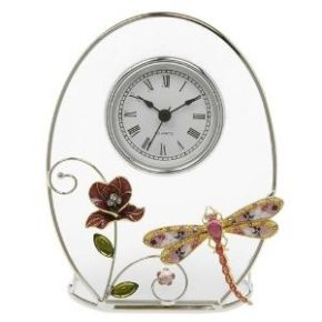 Floral Dragonfly Oval Clock