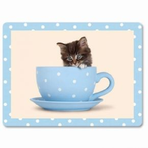 Kitty In A Tea Cup Placemat, (6 Pack)