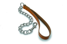 Leather & Chrome Chain Lead, Red