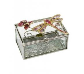 Floral Dragonfly Oblong Trinket Box