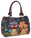 2 owls barrel handbag, blue