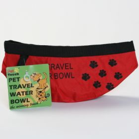 Travel Water Bowl Paw Print Large, With bottle!